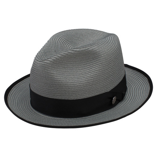 Stetson Latte Gray Florentine Milan Firm Finish Straw Hat