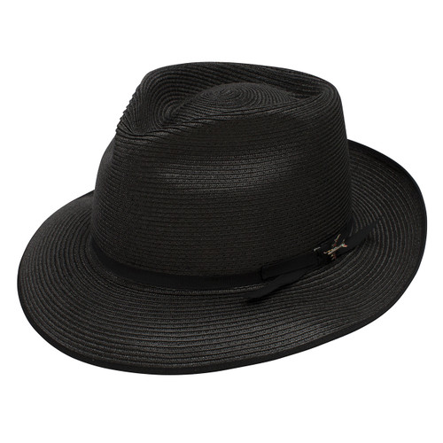 Stetson Stratoliner Black Florentine Milan Firm Finish Straw Hat f9f6c5a24f3