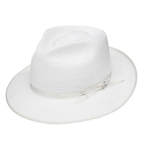 Stetson Stratoliner White Florentine Milan Firm Finish Straw Hat 06c94a98adb