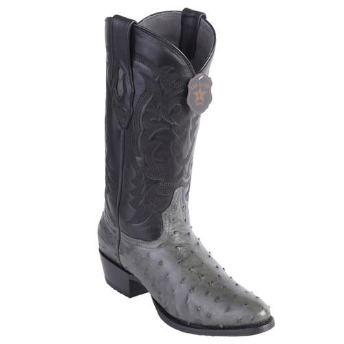 ff5693355c9 Los Altos Gray Genuine Ostrich Round Toe Boots