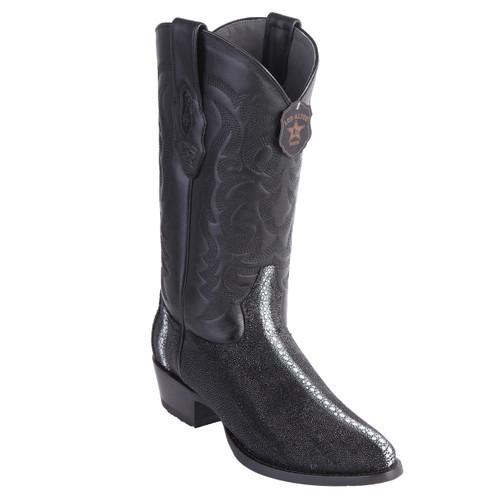 Los Altos Black Stingray Round Toe Boots