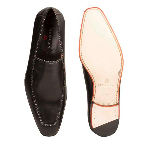 Mezlan Brandt Black Calfskin Leather Dress Slip-ons