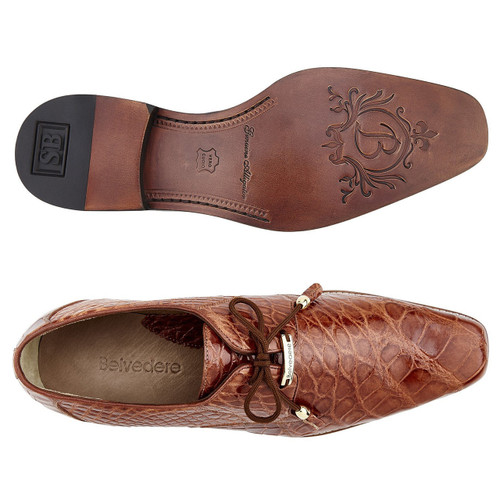 Belvedere Lago Cognac Genuine Alligator Oxfords