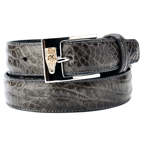 Belvedere Gray Genuine Alligator Dress Belt