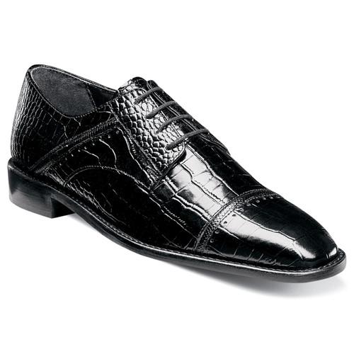Stacy Adams Raimondo Black Printed Leather Oxfords