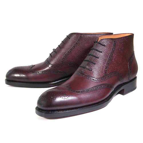 Ugo Vasare Stanford Plum Calfskin Ankle Dress Boots