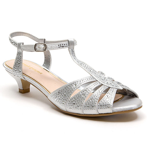Lady Couture Betty Silver Kitten Heel Sandals
