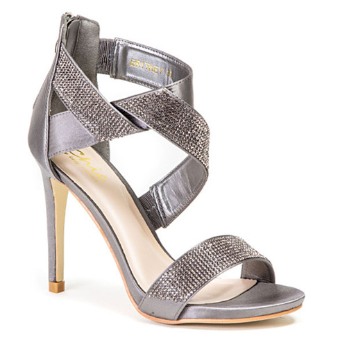 Details about  /Lady Couture Britney Pewter Twisted Rhinestone Heels