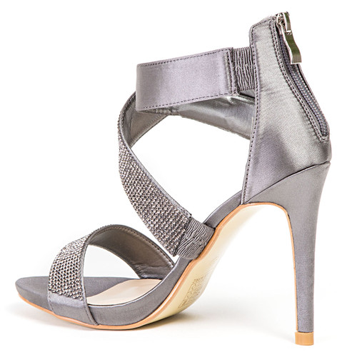 Lady Couture Britney Pewter Twisted Rhinestone Heels