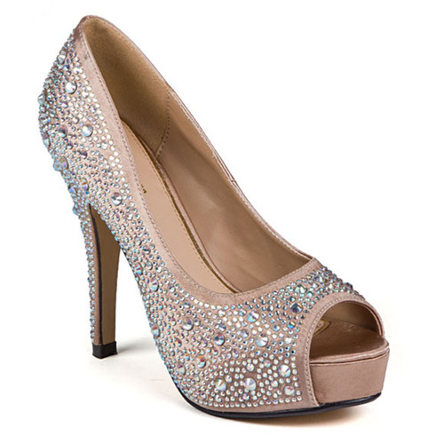 Lady Couture Lauren Champagne Peep-toe Heels