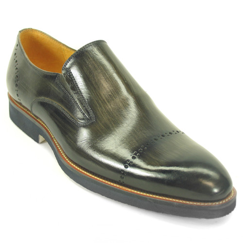 Carrucci Gray Calfskin Leather Brushed Slip-ons