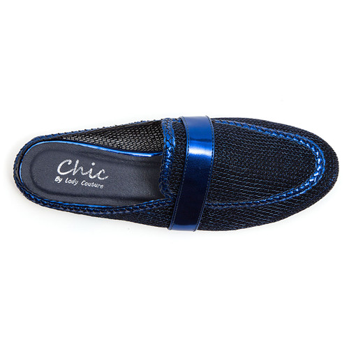 Chic by Lady Couture Jackpot Navy Mesh Mules
