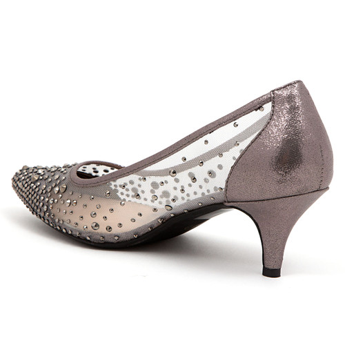 6749273254 Lady Couture Silk Pewter Embellished Kitten Heels