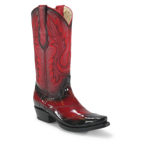 Los Altos Women's Faded Red Eelskin Snip Toe Boots