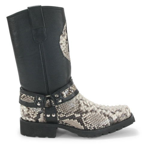 Los Altos Natural & Black Python Biker Boots