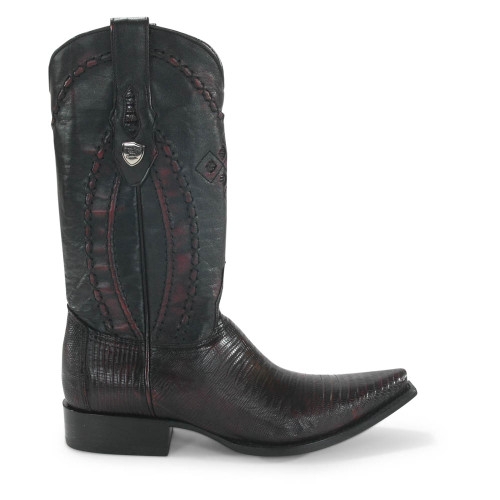 Wild West Black Cherry Teju Lizard Snip Toe Boots