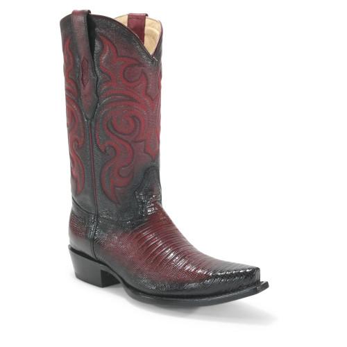 Los Altos Burgundy Teju Lizard Snip Toe Boots