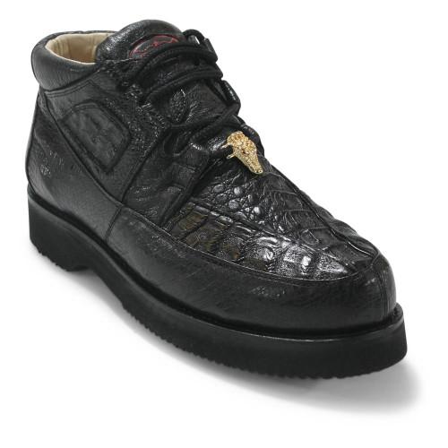 Los Altos Black Caiman Belly & Ostrich Casual Shoes