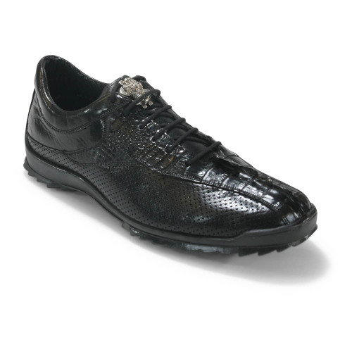 Los Altos Black Caiman Tail Casual Shoes
