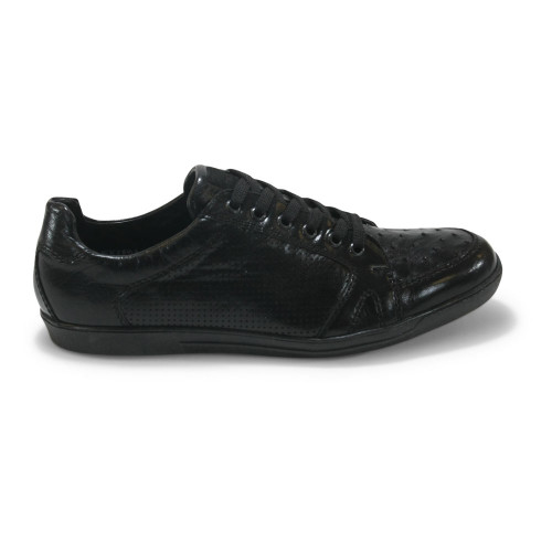 Los Altos Black Genuine Ostrich Casual Shoes