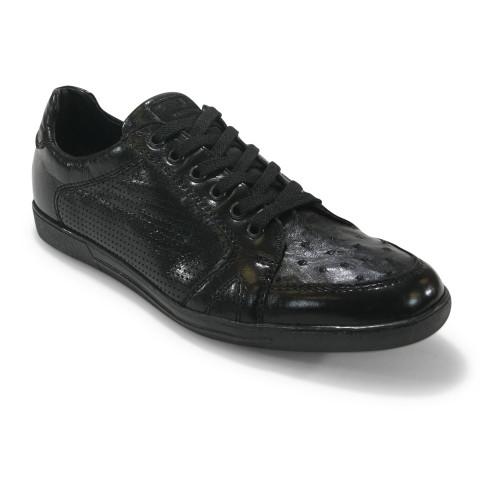 Los Altos Black Genuine Ostrich Casual Shoes
