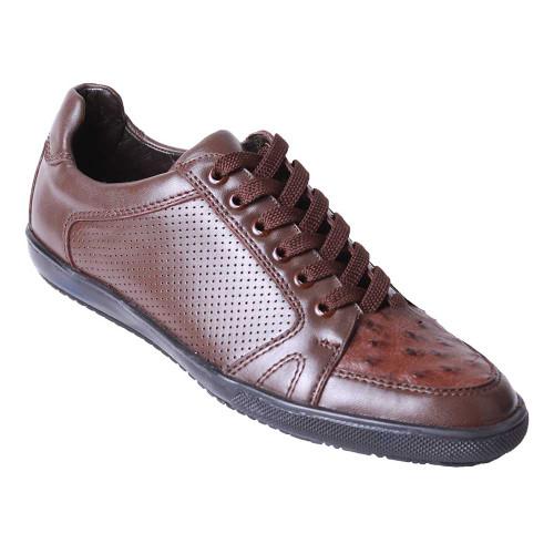 Los Altos Brown Genuine Ostrich Casual Shoes