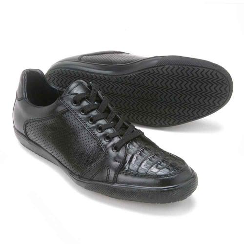 Los Altos Black Caiman Belly Dress Casual Men's Shoes