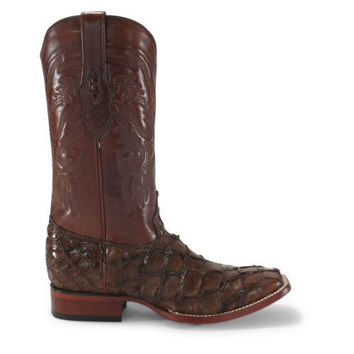 Los Altos Brown Glossy Pirarucu Square Toe Boots