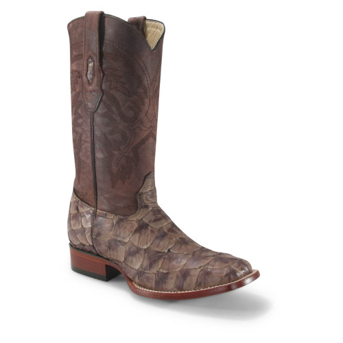 Los Altos Brown Matte Pirarucu Square Toe Boots