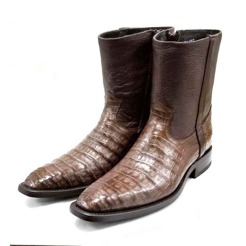 Los Altos Brown Caiman Belly Dress Boots