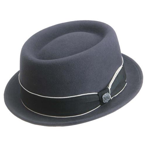 Bigalli Porkpie Dark Grey All Wool Hat