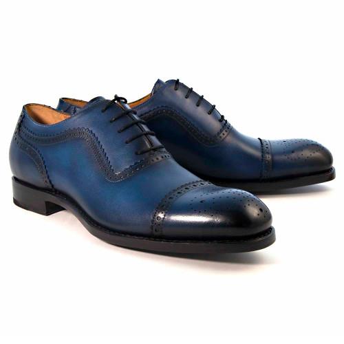 Ugo Vasare Gaelic Navy Leather Cap Toe Oxford Shoes
