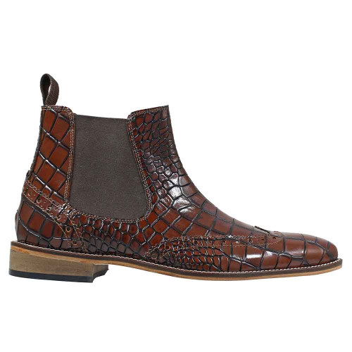 Stacy Adams Frontera Croc leather Cognac Chelsea Boots