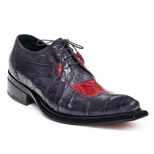 a4fb22490caa Mauri Men s Pino Bordeaux   Medium Grey Alligator Body Oxfords