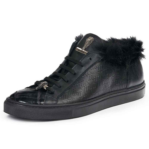 Mauri Men's Larice Black Kangaroo Fur & Embossed Nappa Leather Sneakers