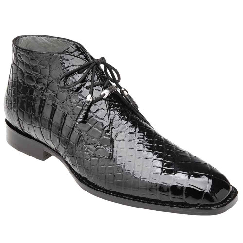 Belvedere Stefano Black Genuine Alligator Men's Ankle Boot