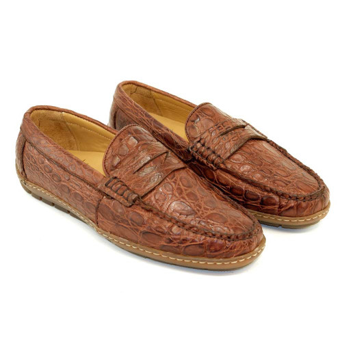 Alan Payne Norman Sport Rust Crocodile Skin Men's Slip-On Loafers