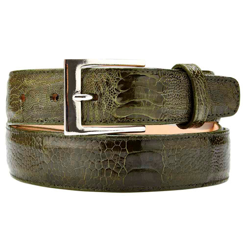 Belvedere Genuine Ostrich Olive Dress Belt