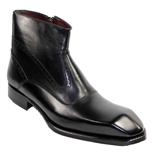 Emilio Franco Davide Black Leather Ankle Boots