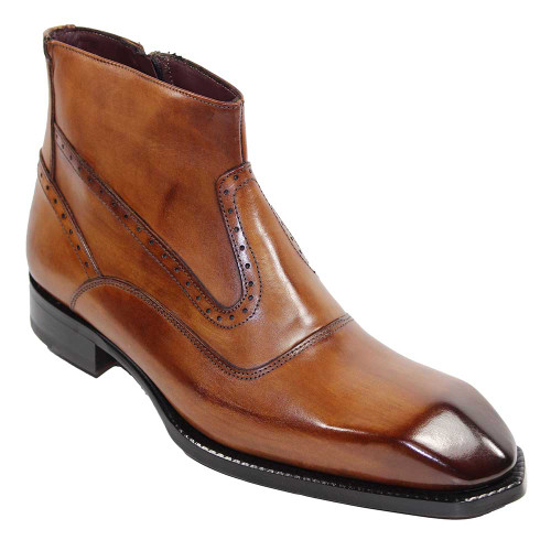 Emilio Franco Davide Cognac Leather Ankle Boots