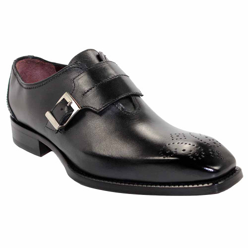 Emilio Franco Luca Black Italian Leather Monkstraps
