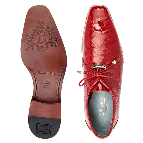 Belvedere Lago Red Genuine Alligator Tassel Laces Men's Oxford Shoes