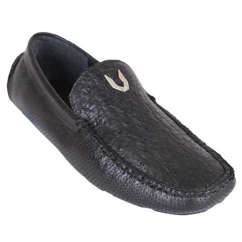 Vestigium Black Genuine Ostrich Driving Men's Loafers