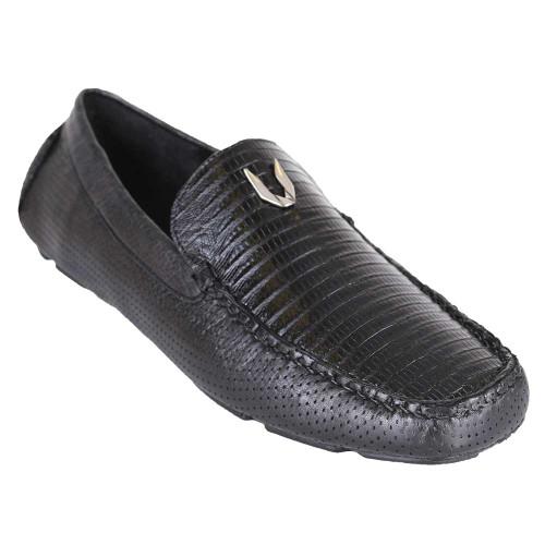 Vestigium Black Genuine Lizard Driver Men's Loafers