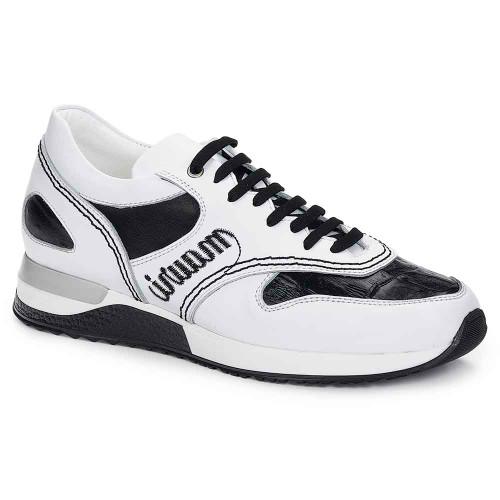 Mauri Ticino Anil Calf White & Baby Croc Black Men's Casual Sneakers