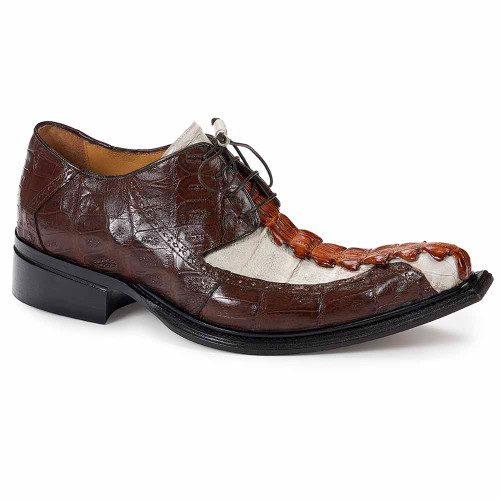 Mauri Brenta Hornback Tail Hand painted Gold & Baby Croc Sport Rust Acre Raindrops Lace Up Men's Shoes
