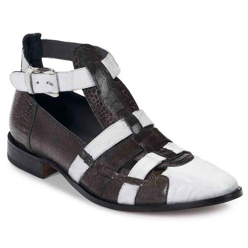 Mauri Cervaro Baby Croc White & Ostrich Leg Agate Grey High Rise Men's Strap Shoes