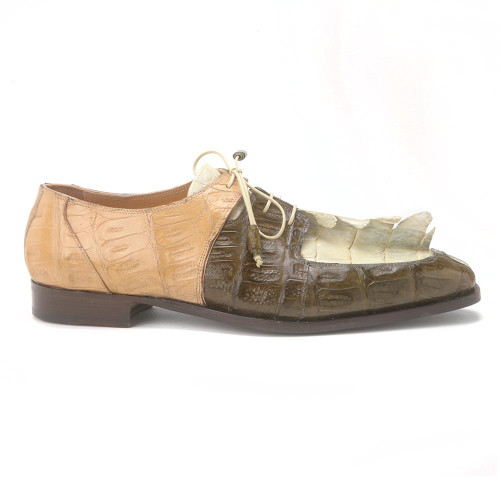 Mauri Metauro Olive & Cream Hornback Tail Hand Painted Lace Up
