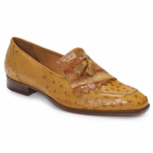 Mauri Taro Tabac Ostrich Kilt Tassel Men's Slip On Loafers