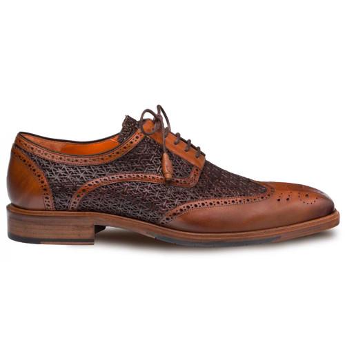 d5ec2554 Mezlan Haydn Cognac & Brown Calfskin Perforated Design Wing Tip Men's Lace  Up Shoes